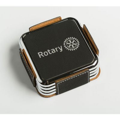 Square Leather Coasters with Silver Frame