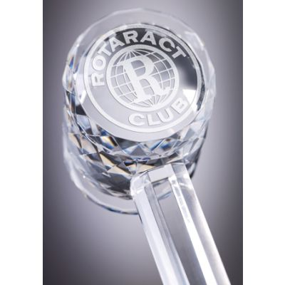 "ROTARACT 10-1/4"" Long Crystal Gavel w/ Custom Etched Handle"