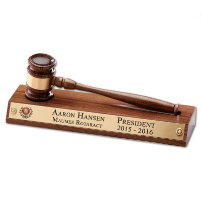 ROTARACT Solid American Walnut Gavel & Stand