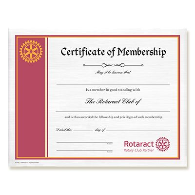 Customized Rotaract Member Horizontal Certificate