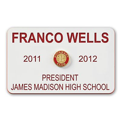 Rotaract 4-Line Custom Plastic Name Badge Clip Back