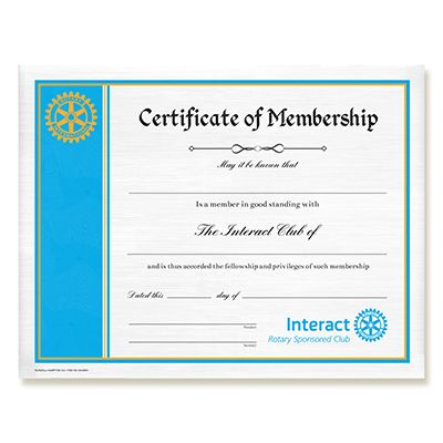Interact Certificate Of Membership