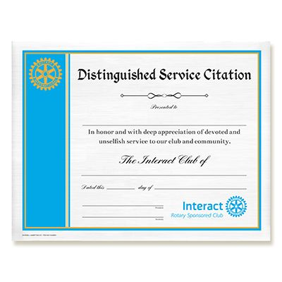 Interact Distinguished Service Citation Certificate