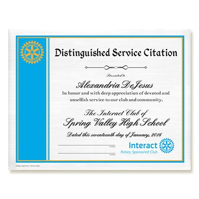 Customized Interact Distinguished Service Citation Certificate