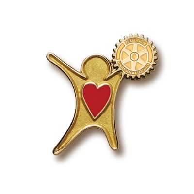 Gold Finish Sharing The Heart Of Rotary Lapel Pin