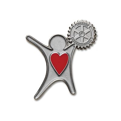 Silver Finish Sharing The Heart Of Rotary Lapel Pin