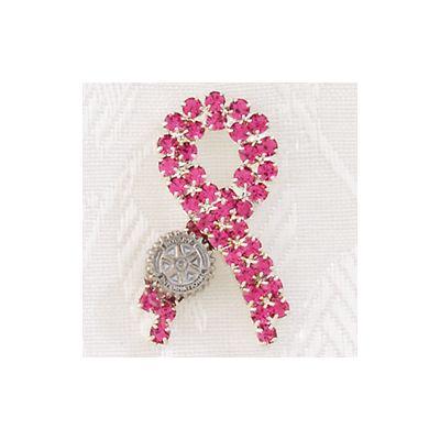 Ribbon Pin with Pink Crystals
