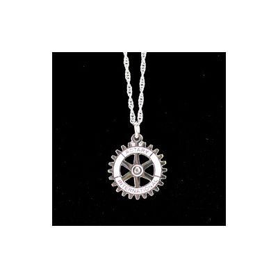Rotary International Emblem Pendant Necklace (Silver finish)