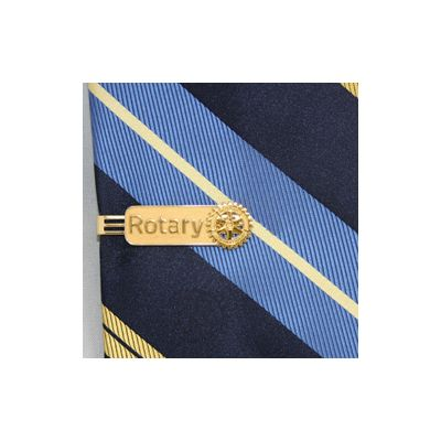 Triple-Bar Tie Bar with Rotary Masterbrand Signature Logo - Gold Plated