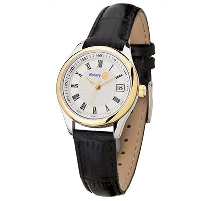 Ladies' Two-Tone Watch w/Black Strap