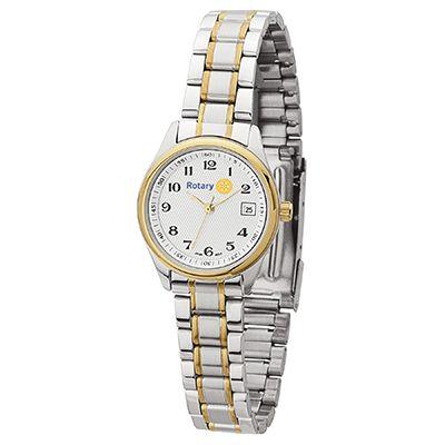 Ladies' Two-Tone Watch with Folded Steel Bracelet