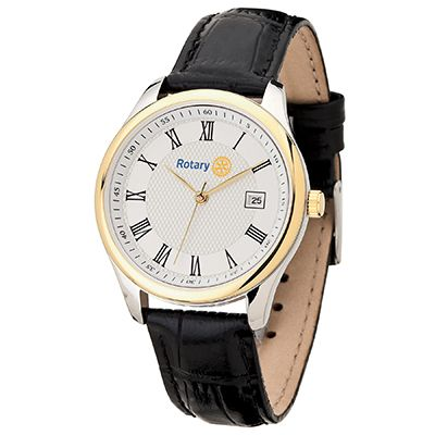 Men's Two-Tone Watch w/ Black Leather Strap