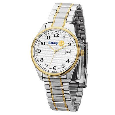 Men's Two-Tone Watch with Folded Steel Bracelet