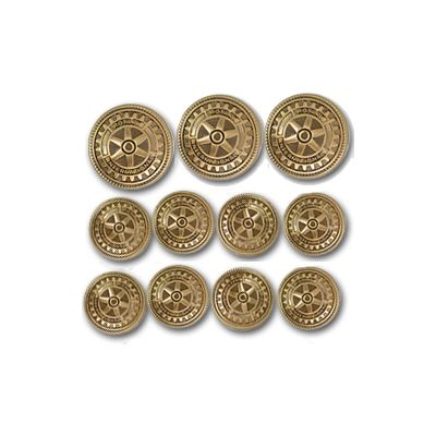 Blazer Buttons w/ Antique Gold Finish - Set of 11