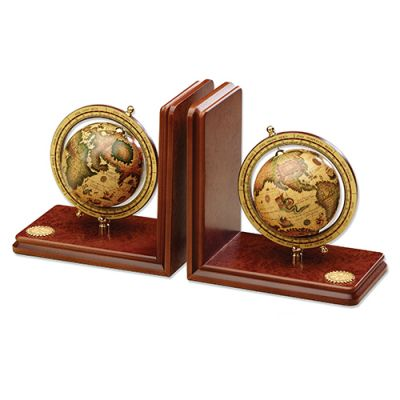 1-Pair-Wood Bookends w/ World Globes