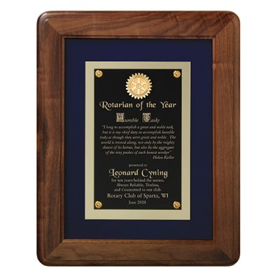 The Royal Treatment Walnut & Royal Blue Velour Plaque