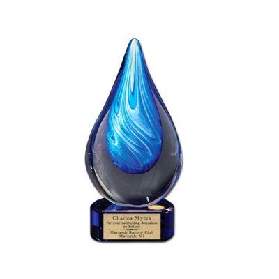 Art Glass Cyan Swirl Award