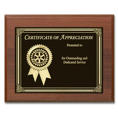 Certificate Of Appreciation Plaque