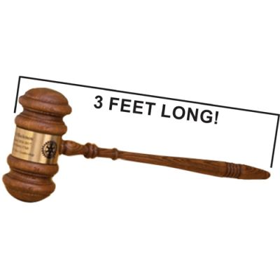 "36"" Jumbo Gavel With Brass Engraving Band"