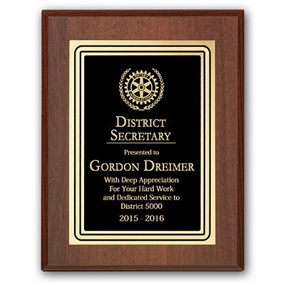 District Secretary Plaque - Club Executive Series