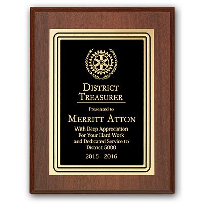 District Treasurer Plaque - Club Executive Series