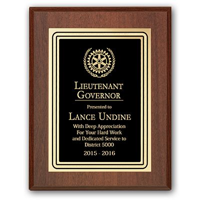 Lieutenant Governor Plaque - Club Executive Series