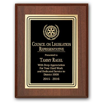 Council on Legislation Representative Plaque - Club Executive Series