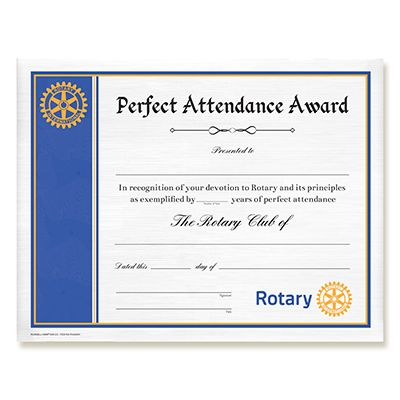 CUSTOMIZED Perfect Attendance Certificate