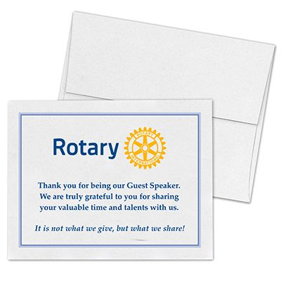 Rotary Masterbrand Guest Speaker Card of Appreciation