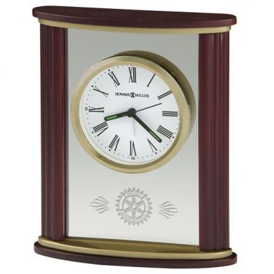 Rosewood, Brass & Glass Alarm Clock with Mark of Excellence Logo