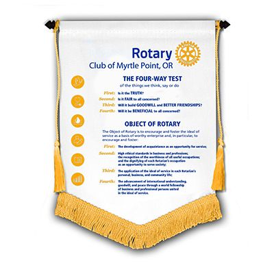 """Four-Way Test/Obj. of Rotary Banner - 7"""" x 10"""""""