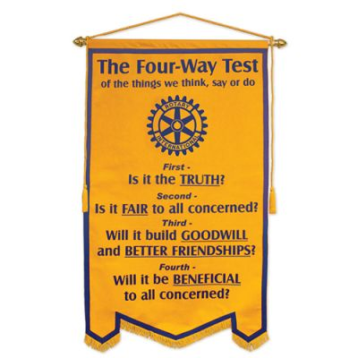 3' x 5' Four-Way Test Felt Banner w/Blue Flock Transfer Copy