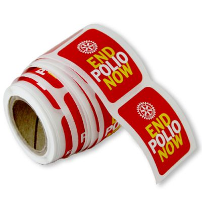 Roll of 100 End Polio Now Stickers