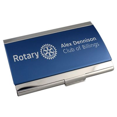 Custom Blue/Chrome Metal Business Card Case