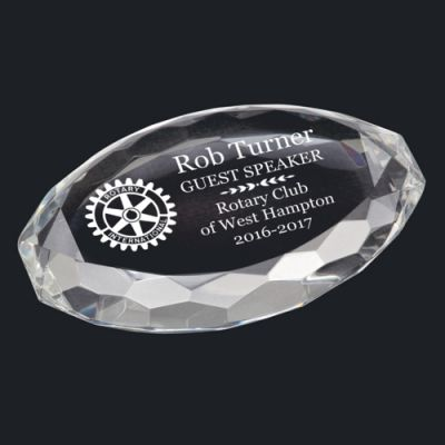Multi-Faceted Oval Crystal Paperweight