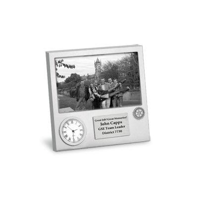 Custom Brushed Metal Picture Frame Clock