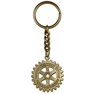 Rotary Medallion Cut-Out Key Ring with Chain