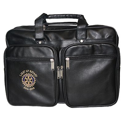 Black Leatherette Briefbag with Zipper Pockets