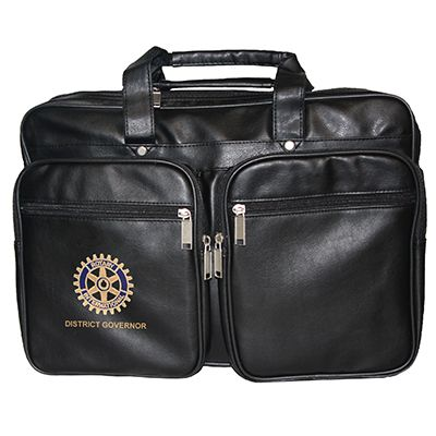 Customized Master Brand Black Leatherette Briefbag w/ Zipper Pockets