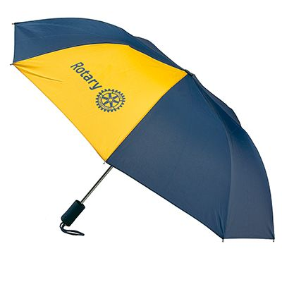 Compact Folding Umbrella in Navy and Gold