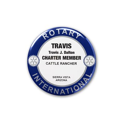 Traditional Style Charter Member or Special Title Name Badge