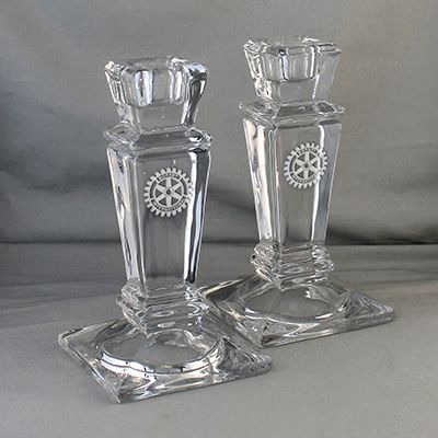 """6"""" Pair of Etched Crystal Candlesticks"""