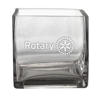 "3-3/4"" Etched Square Glass Cube Vase"