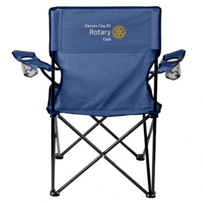 Cloth Folding Camp Chair with Customized Embroidery - Navy