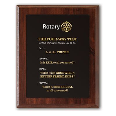 The Four-Way Test Deluxe Wall Plaque