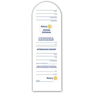 Visiting Rotarian Badge/Report Cards - Pack of 100