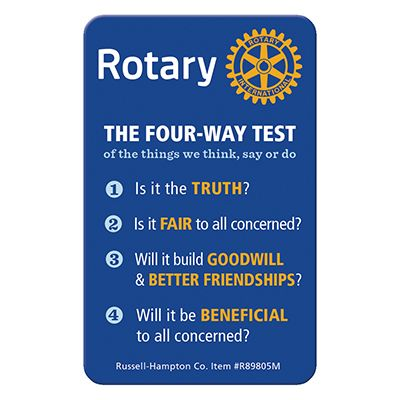 The Four-Way Test / Object of Rotary Plastic Wallet Card