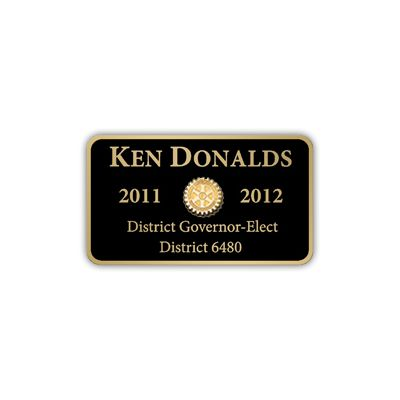 Gloss Black with Gold Trim Name Clip Back Badge