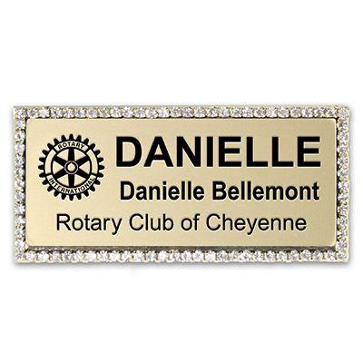 """Rhinestone Framed Name Badge -- 1-3/8""""H x 2-15/16""""W"""