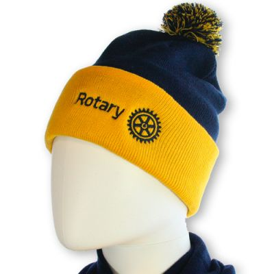 Gold & Blue Knit Hat